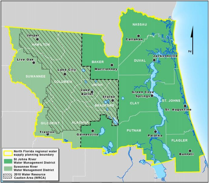 Existing Water Resource Caution Areas in SRWMD